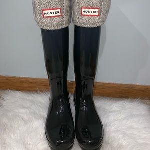 Womens Original Tall Gloss Hunter Boots(Dark Blue)